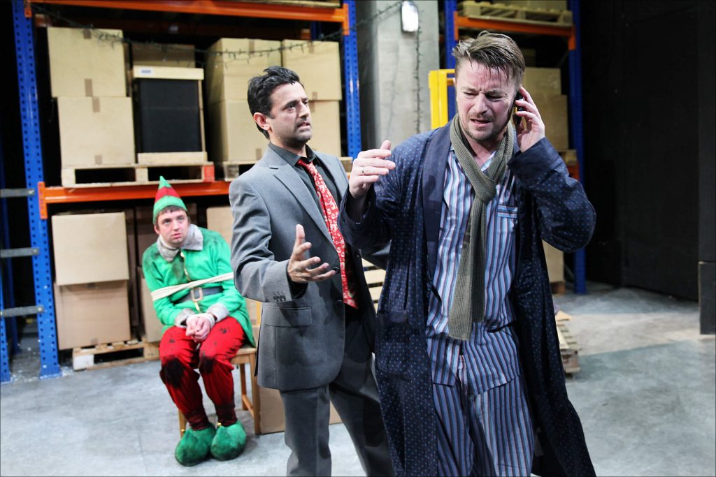 Craig Kelly, Craig Gazey and Navin Chowdhry in The Night Before Christmas, 2013. Photography by Sheila Burnett