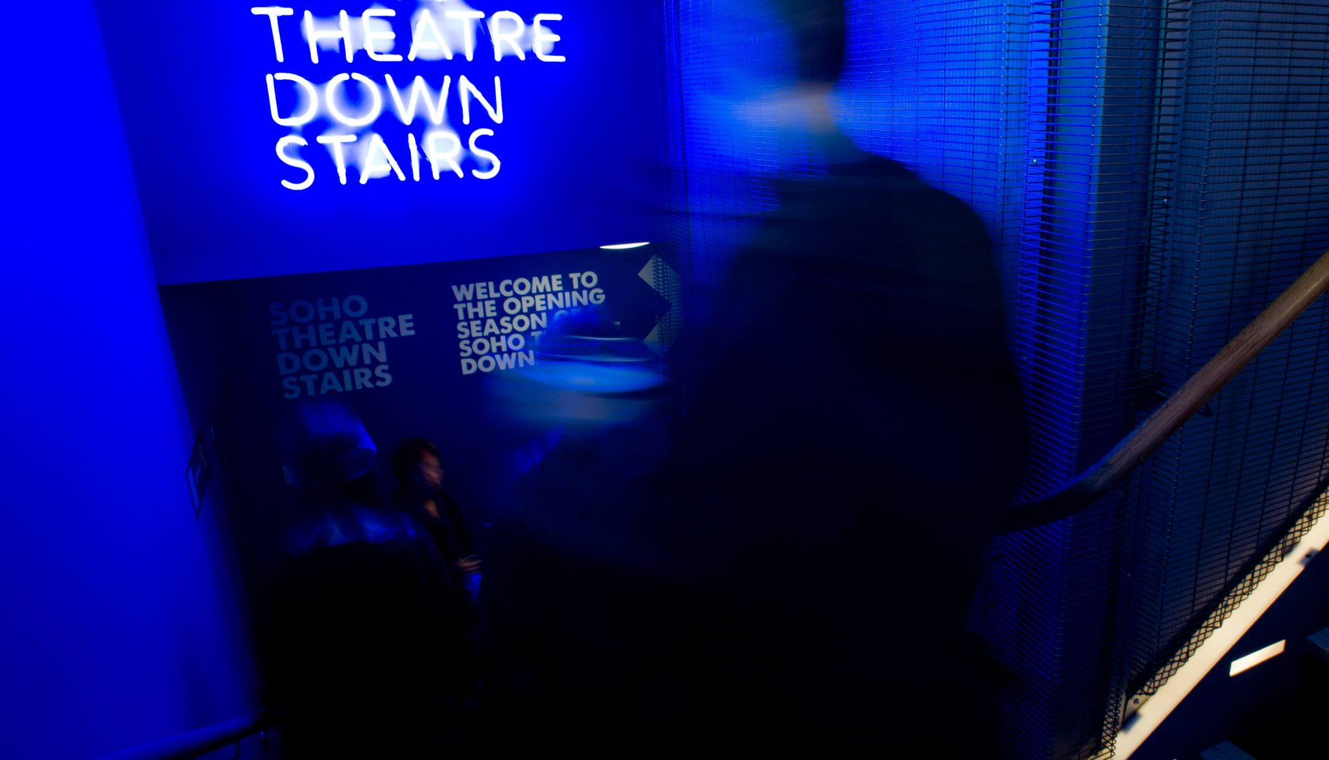 Soho Theatre Downstairs blue neon sign