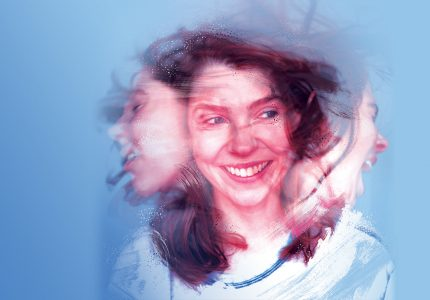 Blurded image of woman turning her head with different facial expressions