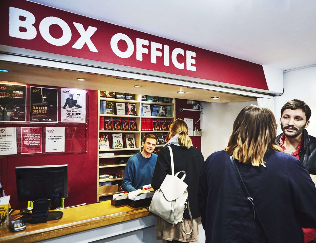 Box Office counter with audience