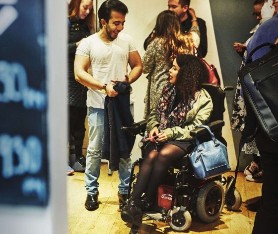 Soho Theatre Foyer with audience member in wheelchair