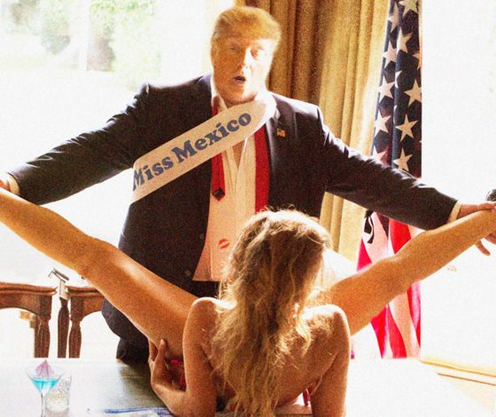 A Donald Trump lookalike, wearing a sash with the words Miss Mexico on it, looks down at a young woman who who has he legs open. They are in the Oval Office