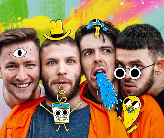 close up shot of The RH Experience team pulling funny expressions with a multicoloured backdrop and cartoon doodles of hats , glasses and surreal items superimposed on them