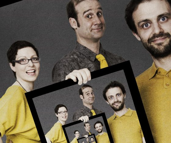 The Festival of the Spoken Nerd team dressed in yellow t-shirts hold up a framed image of themselves depicted holding up the same image of themselves and so on as a recursive