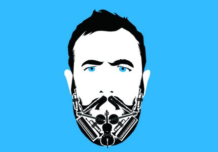 a stylised cartoon depiction of Alex Horne with a serious expression, blue background
