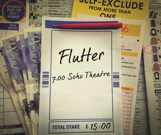 A notepad with the show's title, time and venue is scribbled on a notepad which rests atop some banknotes and betting shop paraphernalia