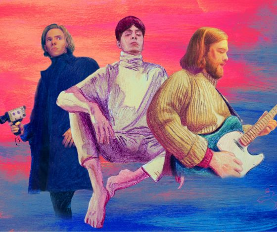 Three young men, floating on a painted psychedelic background