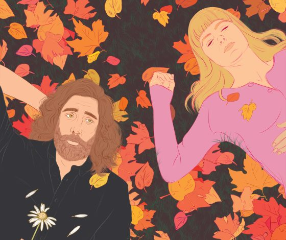 Illustration of man and woman lying in autumn leaves.