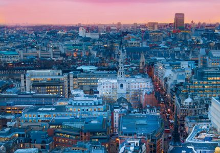Panoramic shot of City of London at sunset, business district