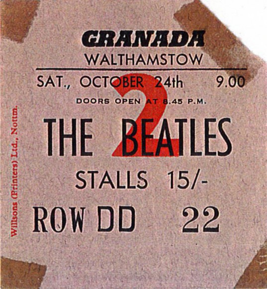 Walthamstow granada Beatles Ticket