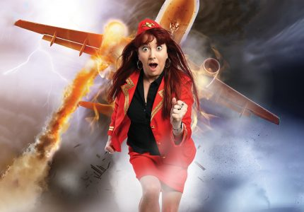 publicity image of Susan Murray in the comedy show How Not to Die in a Plane Crash