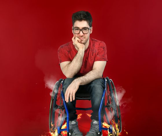 publicity image of Aaron Simmonds for the comedy show Hot Wheels