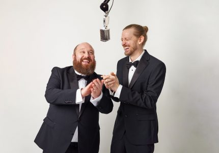 publicity image of Jonny and the Baptists for the comedy show Dance Like It Never Happened