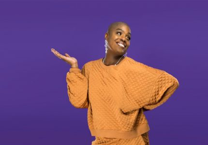 publicity image of Thaniya Moore for the comedy show Moore Laughter!