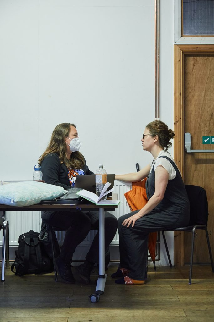 Morgan Lloyd Malcolm (writer) and Abigail Graham (director) in rehearsal for Mum. Photo by The Other Richard.