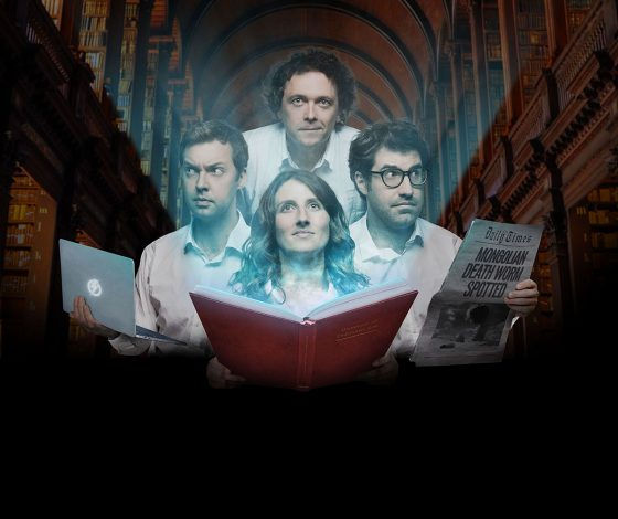 publicity image of James Harkin, Andrew Hunter Murray, Anna Ptaszynski and Dan Schreiber for the comedy show No Such Thing As A Fish: Nerd Immunity (Work in Progress)
