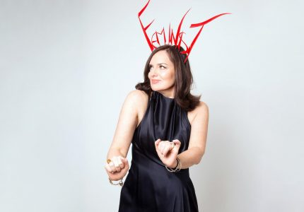 image of Deborah Frances-While for the show The Guilty Feminist at Shedinburgh
