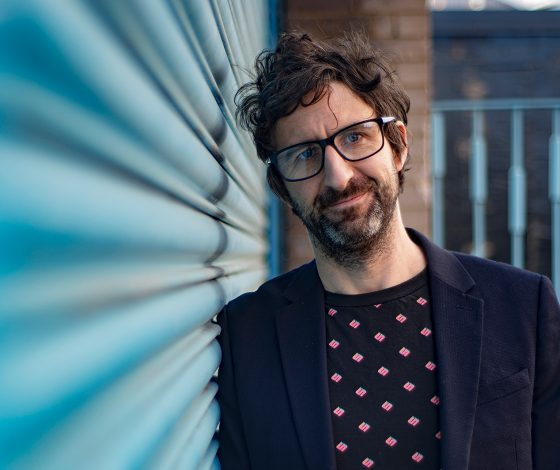 publicity image of Mark Thomas for the comedy show Does Mark Watson Know It's Christmas