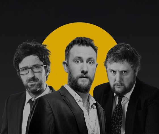 publicity image of Alex Horne, Tim Key and Mark Watson for the comedy show No More Jockeys