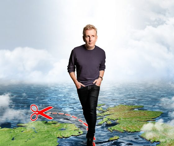 publicity image of Patrick Kielty for the comedy show Patrick Kielty: Borderline – A Postcard From The Edge of The Union